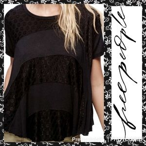Free People Black Scoop Neck Top Size XS Nwt